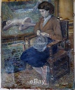 Trés grand tableau impressionniste ancien superbe portrait et nu