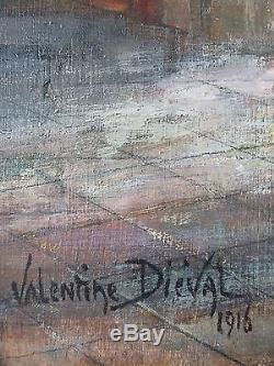 Valentine Diéval Ancien Tableau Peinture Huile Original Antique Oil Painting Old