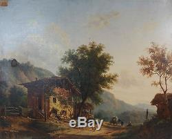 Victor de Grailly tableau ancien huile / toile paysage 19ème antique painting