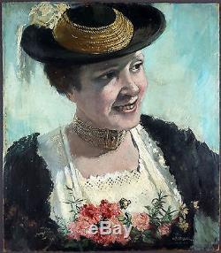 Wolfgang Gruber (1911-X) Ancien Tableau Peinture Huile Original Oil Painting
