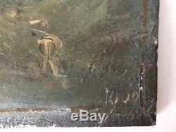 XIXe Tableau ancien Marine voilier en tempête 19eme Huile sur panneau c1900