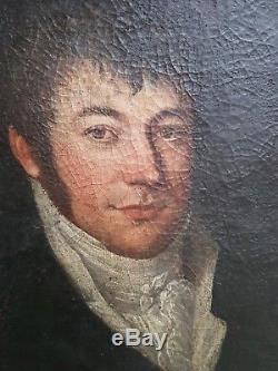 XVIII ème s, tableau ancien portrait d'homme huile sur toile